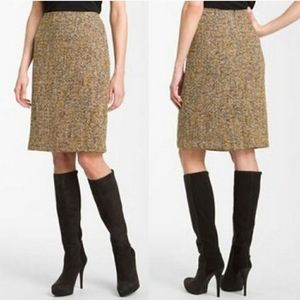Nic + Zoe Brown Tweed Pencil Skirt A-line Slit 8P